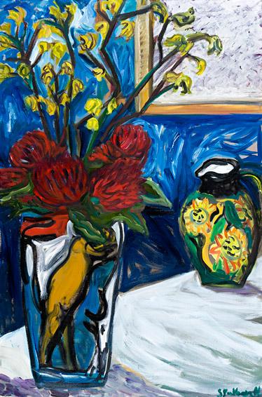Still life with sunflower jug