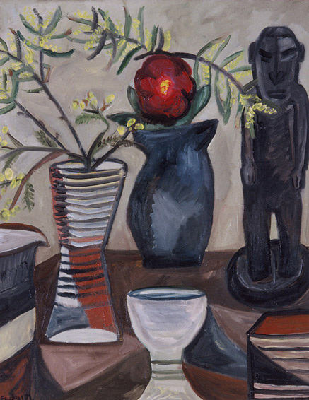 Still Life with Wattle & Papuan Figure