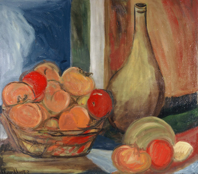 Still Life with Bottle & Persimmon