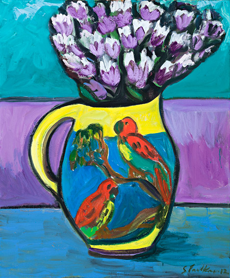 Still life with lorikeet jug